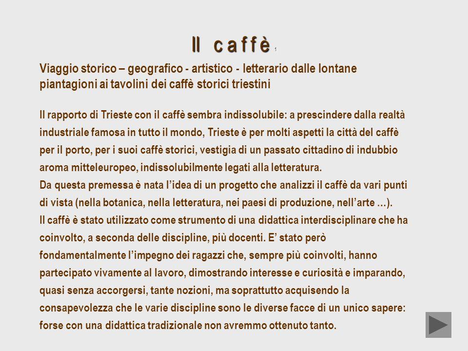 Il c a f f è 1 Viaggio storico – geografico - artistico - letterario dalle lontane piantagioni ai tavolini dei caffè storici triestini Il rapporto di