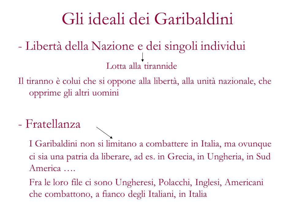 Gli ideali dei Garibaldini - Libertà della Nazione e dei singoli individui Lotta alla tirannide Il tiranno è colui che si oppone alla libertà, alla un