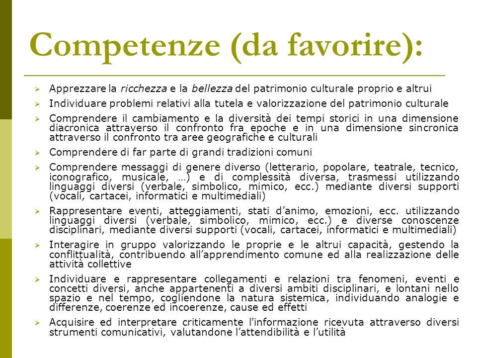 Competenze (da favorire): Apprezzare la ricchezza e la bellezza del patrimonio culturale proprio e altrui Individuare problemi relativi alla tutela e