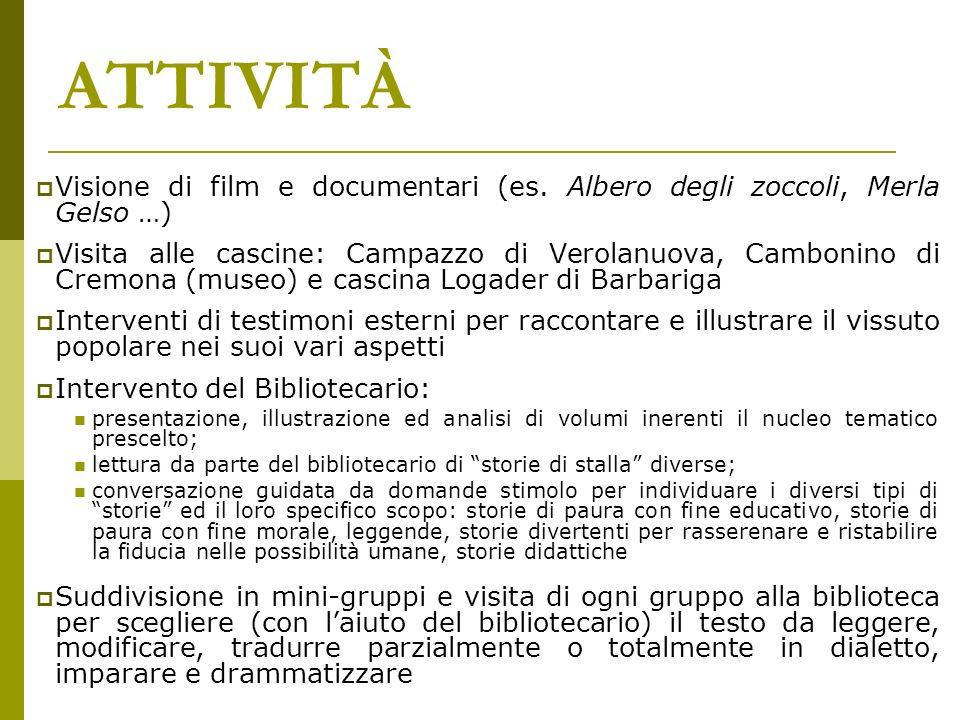 ATTIVITÀ Visione di film e documentari (es. Albero degli zoccoli, Merla Gelso …) Visita alle cascine: Campazzo di Verolanuova, Cambonino di Cremona (m