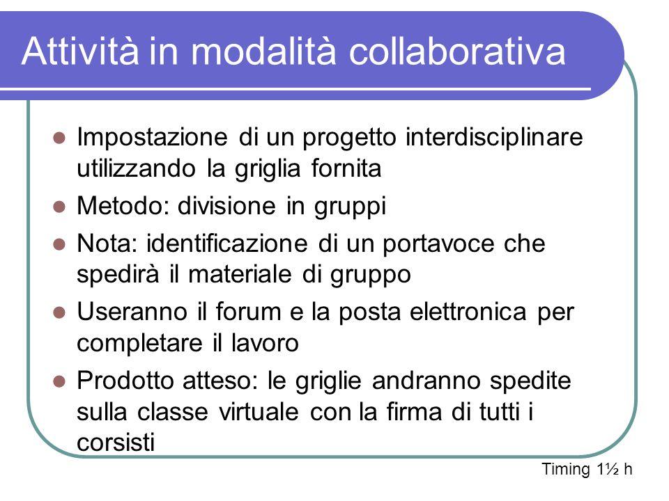 Attività in modalità collaborativa Impostazione di un progetto interdisciplinare utilizzando la griglia fornita Metodo: divisione in gruppi Nota: iden