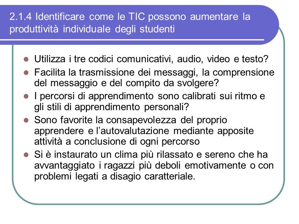 2.1.4 Identificare come le TIC possono aumentare la produttività individuale degli studenti Utilizza i tre codici comunicativi, audio, video e testo?
