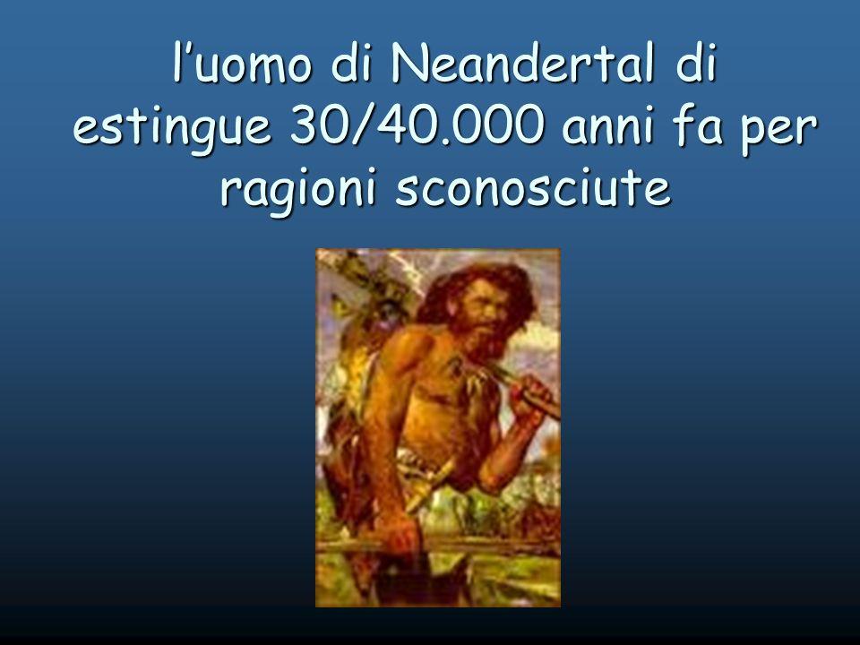 luomo di Neandertal di estingue 30/40.000 anni fa per ragioni sconosciute