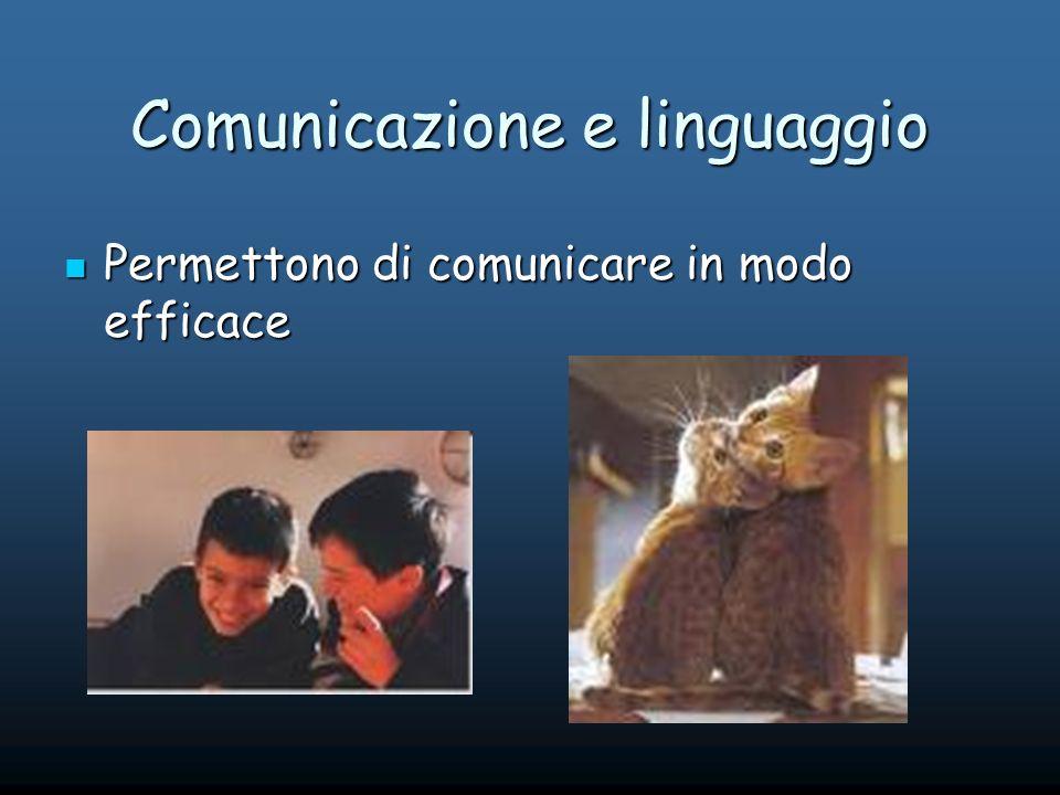Comunicazione e linguaggio Permettono di comunicare in modo efficace Permettono di comunicare in modo efficace