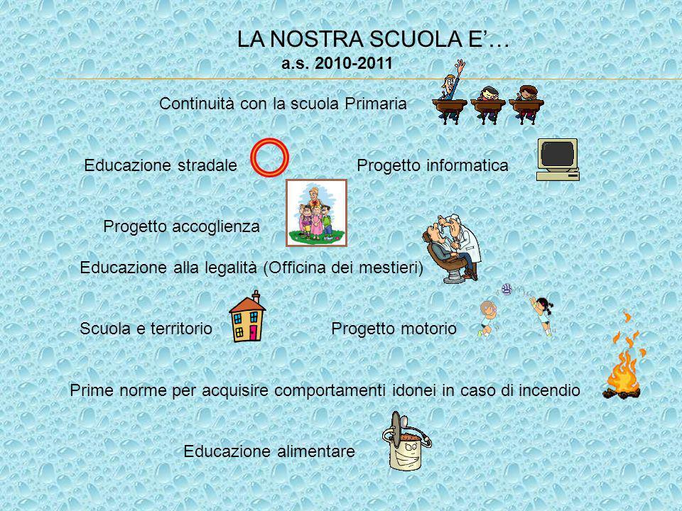 LA NOSTRA SCUOLA E… a.s. 2010-2011 Continuità con la scuola Primaria Educazione stradale Progetto informatica Progetto accoglienza Educazione alla leg