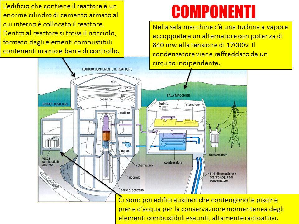 Nella sala macchine cè una turbina a vapore accoppiata a un alternatore con potenza di 840 mw alla tensione di 17000v. Il condensatore viene raffredda