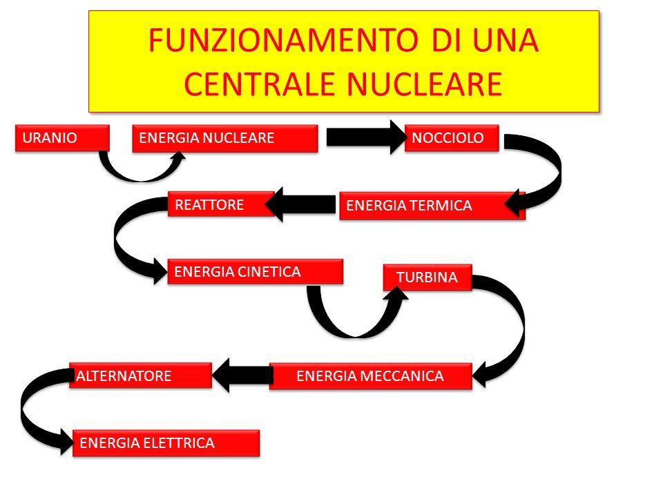 FUNZIONAMENTO DI UNA CENTRALE NUCLEARE URANIO ENERGIA NUCLEARE NOCCIOLO ENERGIA TERMICA REATTORE ENERGIA CINETICA TURBINA ENERGIA MECCANICA ALTERNATOR