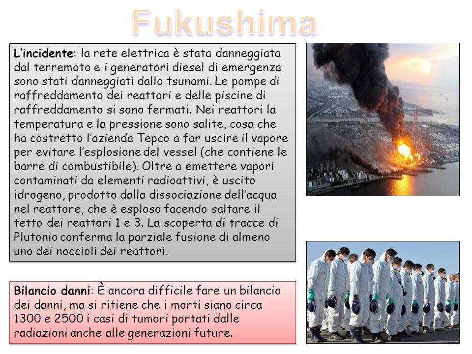 Lincidente: la rete elettrica è stata danneggiata dal terremoto e i generatori diesel di emergenza sono stati danneggiati dallo tsunami. Le pompe di r