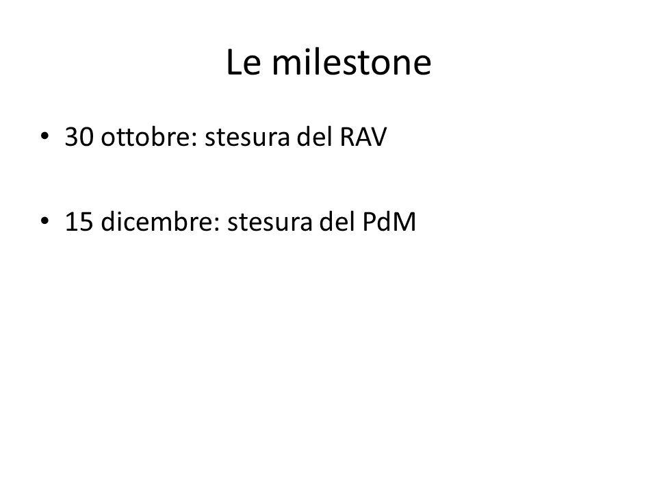 Le milestone 30 ottobre: stesura del RAV 15 dicembre: stesura del PdM
