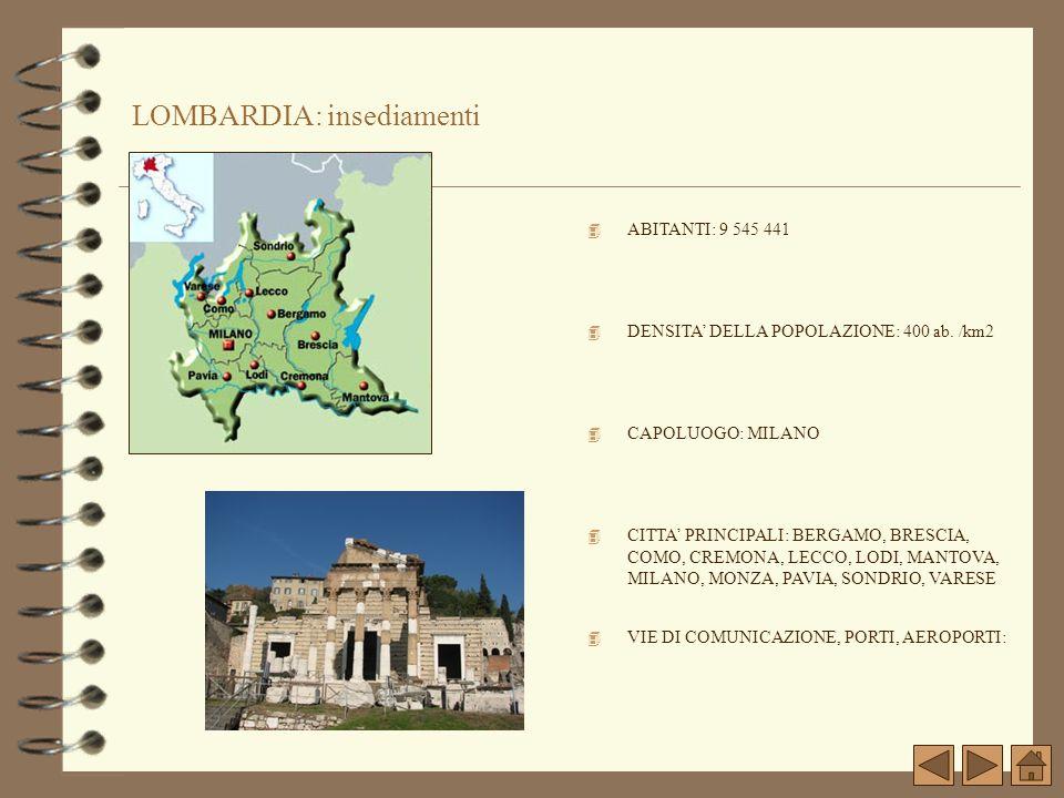 LOMBARDIA: insediamenti 4 CAPOLUOGO: MILANO 4 VIE DI COMUNICAZIONE, PORTI, AEROPORTI: 4 CITTA PRINCIPALI: BERGAMO, BRESCIA, COMO, CREMONA, LECCO, LODI