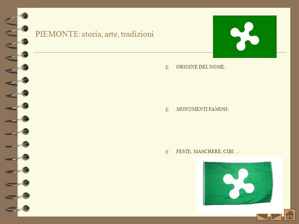 PIEMONTE: storia, arte, tradizioni 4 ORIGINE DEL NOME: 4 MONUMENTI FAMOSI: 4 FESTE, MASCHERE, CIBI...: