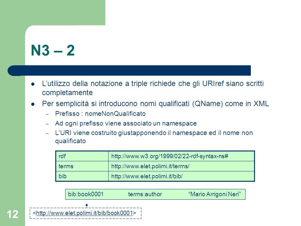 12 N3 – 2 Lutilizzo della notazione a triple richiede che gli URIref siano scritti completamente Per semplicità si introducono nomi qualificati (QName