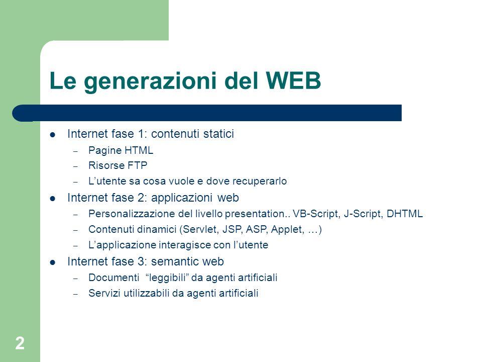 2 Le generazioni del WEB Internet fase 1: contenuti statici – Pagine HTML – Risorse FTP – Lutente sa cosa vuole e dove recuperarlo Internet fase 2: ap
