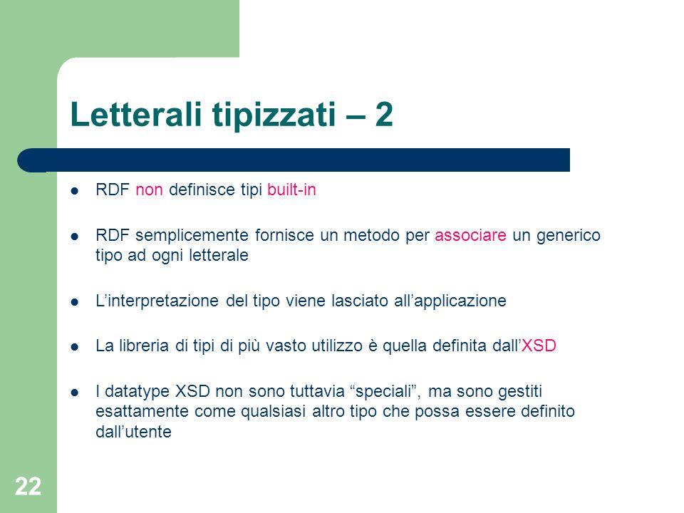 22 Letterali tipizzati – 2 RDF non definisce tipi built-in RDF semplicemente fornisce un metodo per associare un generico tipo ad ogni letterale Linte