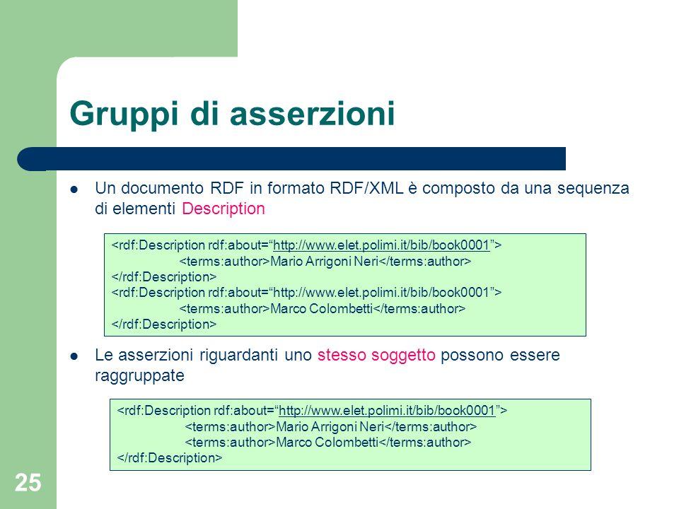 25 Gruppi di asserzioni Un documento RDF in formato RDF/XML è composto da una sequenza di elementi Description Le asserzioni riguardanti uno stesso so