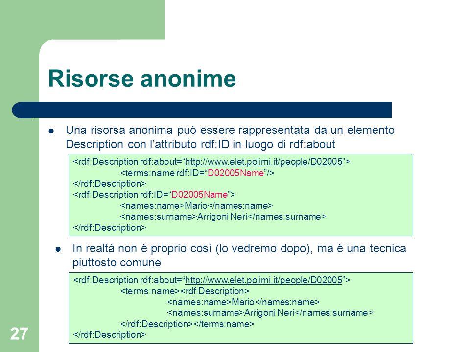 27 Una risorsa anonima può essere rappresentata da un elemento Description con lattributo rdf:ID in luogo di rdf:about Risorse anonime http://www.elet
