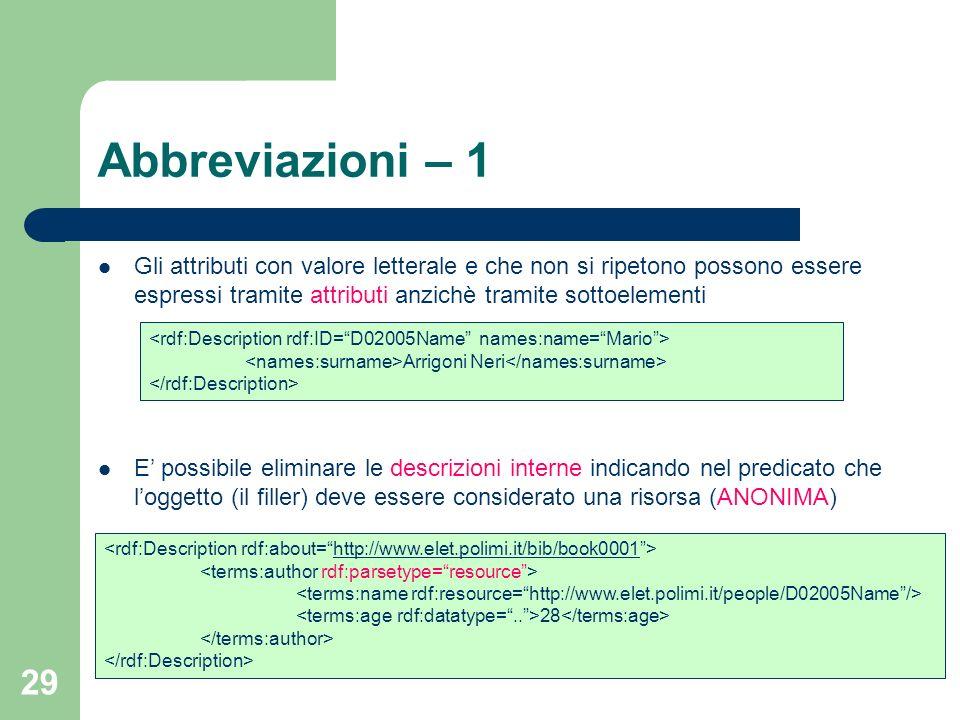 29 Gli attributi con valore letterale e che non si ripetono possono essere espressi tramite attributi anzichè tramite sottoelementi E possibile elimin