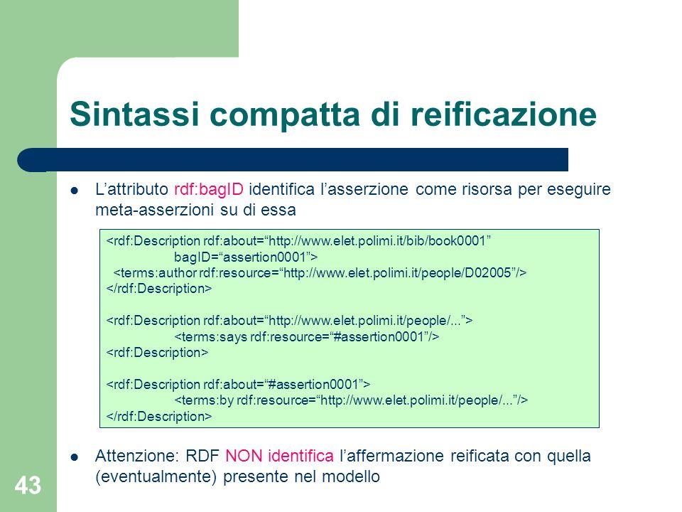 43 Sintassi compatta di reificazione Lattributo rdf:bagID identifica lasserzione come risorsa per eseguire meta-asserzioni su di essa Attenzione: RDF