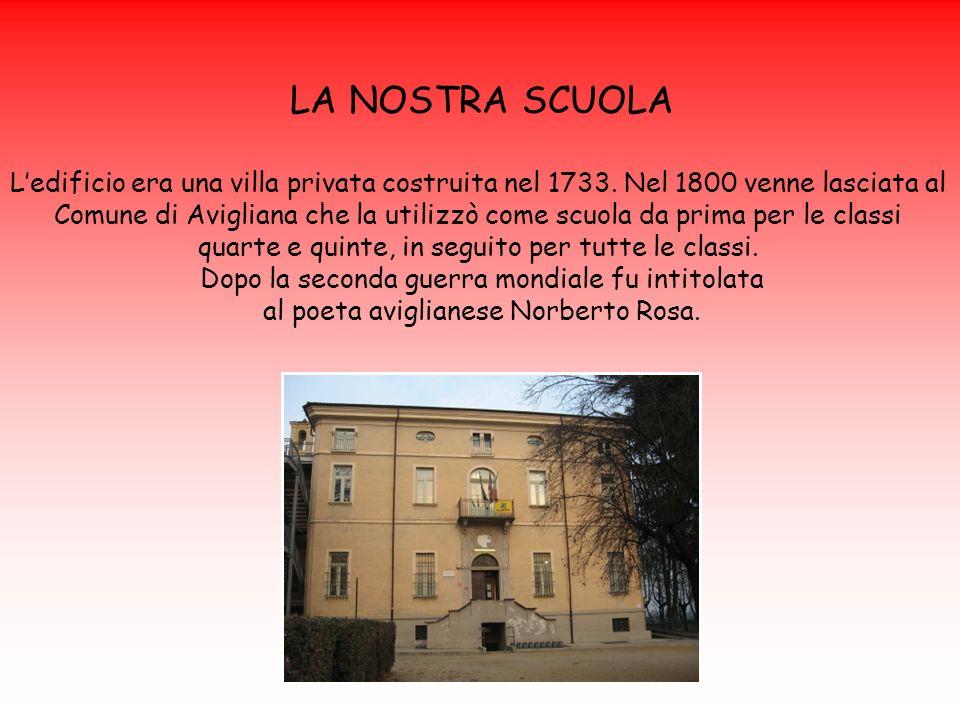 LA NOSTRA SCUOLA Ledificio era una villa privata costruita nel 1733. Nel 1800 venne lasciata al Comune di Avigliana che la utilizzò come scuola da pri