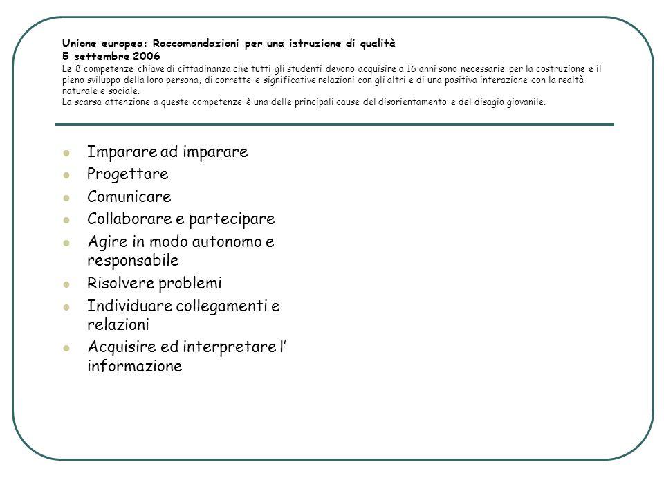 Unione europea: Raccomandazioni per una istruzione di qualità 5 settembre 2006 Le 8 competenze chiave di cittadinanza che tutti gli studenti devono ac
