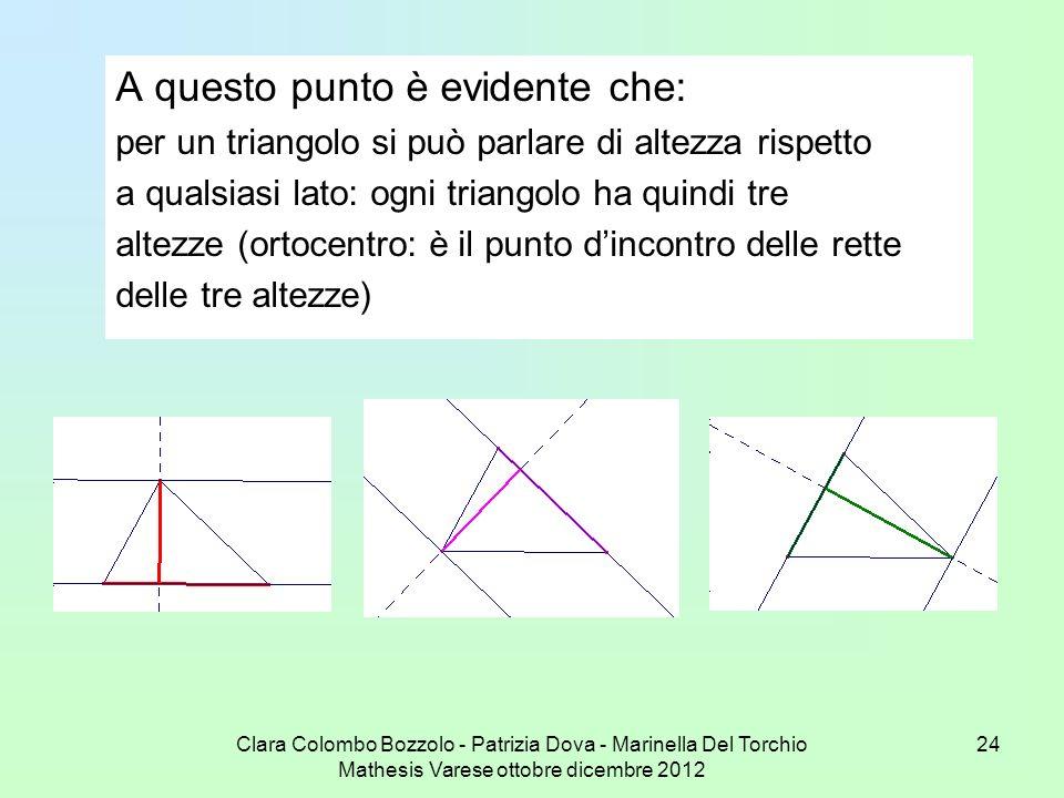 Clara Colombo Bozzolo - Patrizia Dova - Marinella Del Torchio Mathesis Varese ottobre dicembre 2012 24 A questo punto è evidente che: per un triangolo
