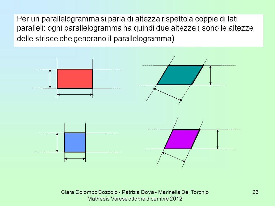 Clara Colombo Bozzolo - Patrizia Dova - Marinella Del Torchio Mathesis Varese ottobre dicembre 2012 26 Per un parallelogramma si parla di altezza risp