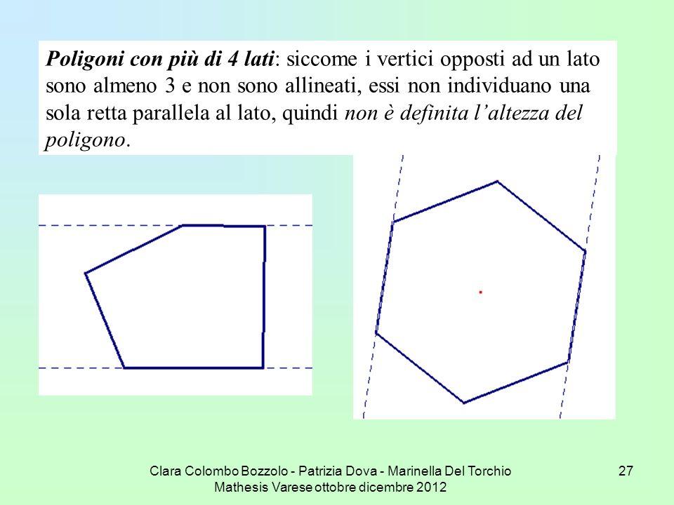 Clara Colombo Bozzolo - Patrizia Dova - Marinella Del Torchio Mathesis Varese ottobre dicembre 2012 27 Poligoni con più di 4 lati: siccome i vertici o