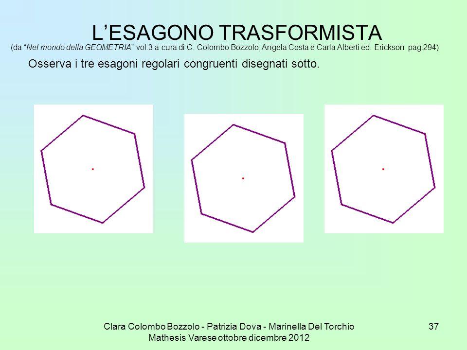 Clara Colombo Bozzolo - Patrizia Dova - Marinella Del Torchio Mathesis Varese ottobre dicembre 2012 37 LESAGONO TRASFORMISTA (da Nel mondo della GEOME