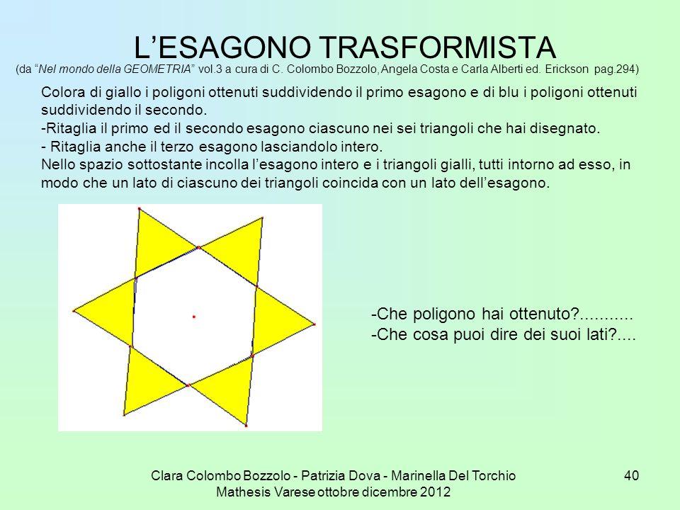 Clara Colombo Bozzolo - Patrizia Dova - Marinella Del Torchio Mathesis Varese ottobre dicembre 2012 40 LESAGONO TRASFORMISTA (da Nel mondo della GEOME