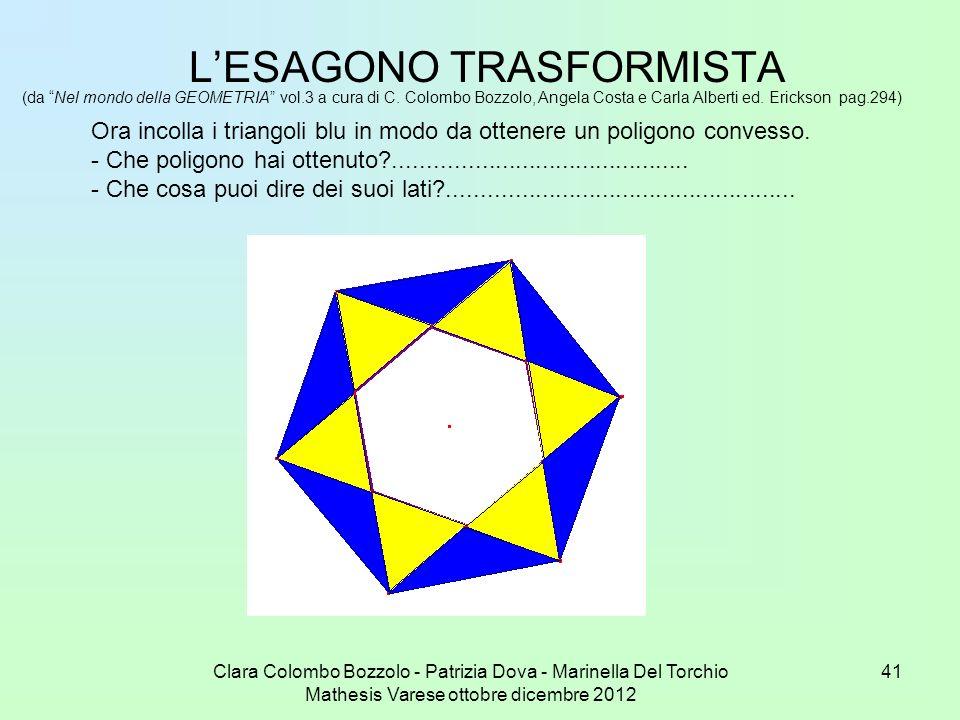 Clara Colombo Bozzolo - Patrizia Dova - Marinella Del Torchio Mathesis Varese ottobre dicembre 2012 41 LESAGONO TRASFORMISTA (da Nel mondo della GEOME