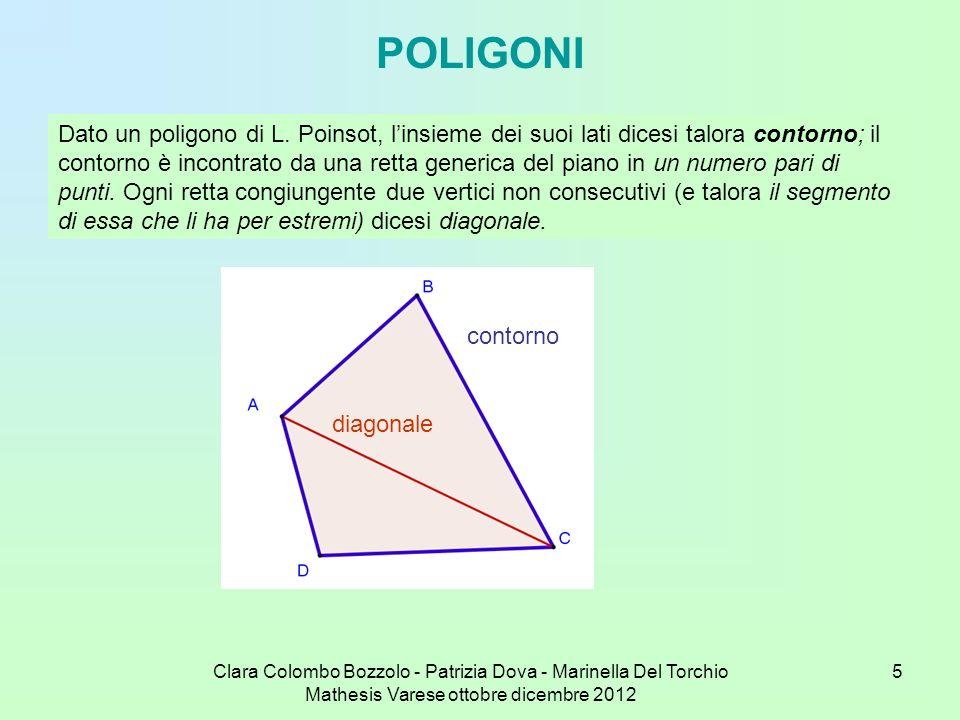 Clara Colombo Bozzolo - Patrizia Dova - Marinella Del Torchio Mathesis Varese ottobre dicembre 2012 16 Per n = 5 si ha 1 2 3 4 5 1 (il pentagono regolare convesso), 1 3 5 2 4 1, (il pentacolo, o Stella Pitagorica); le altre due possibili sequenze danno luogo ancora a questi due poligoni; è inutile, quindi, sorpassare la metà dei vertici, poiché si dà luogo agli stessi poligoni percorsi in verso opposto.