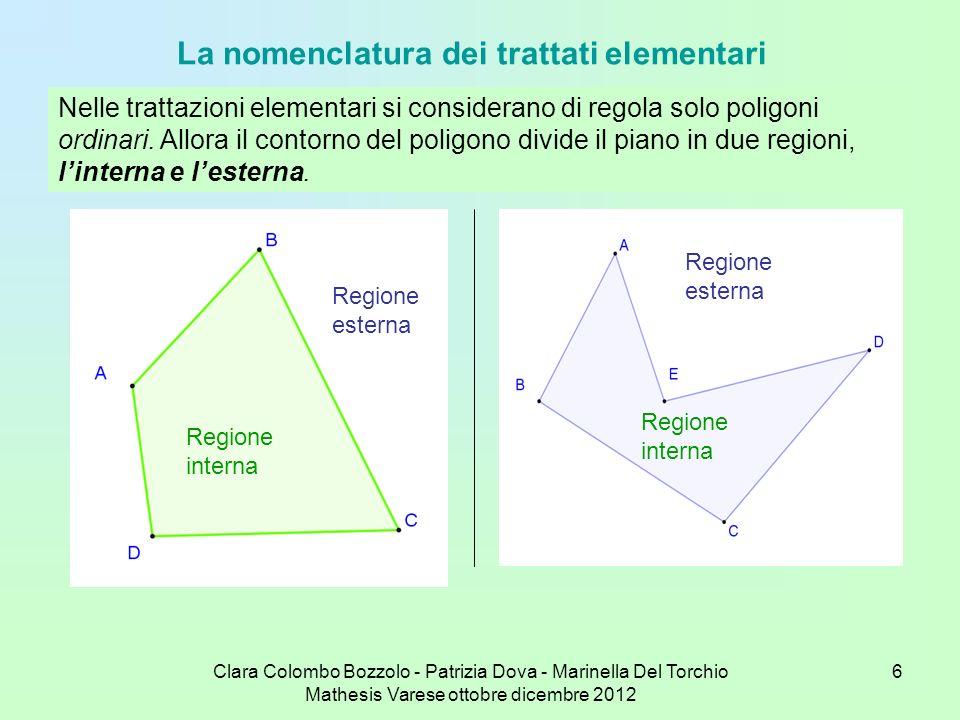 Clara Colombo Bozzolo - Patrizia Dova - Marinella Del Torchio Mathesis Varese ottobre dicembre 2012 17 Per l esagono si hanno le tre sequenze 1 2 3 4 5 6 1 che dà l esagono regolare (blu); 1 3 5 1, 1 4 1 che non completano i vertici; completandoli, come per il quadrilatero, si hanno due esagoni regolari degeneri, il primo in due triangoli equilateri (rosso), il secondo in tre segmenti (verde); non esistono quindi esagoni regolari intrecciati.