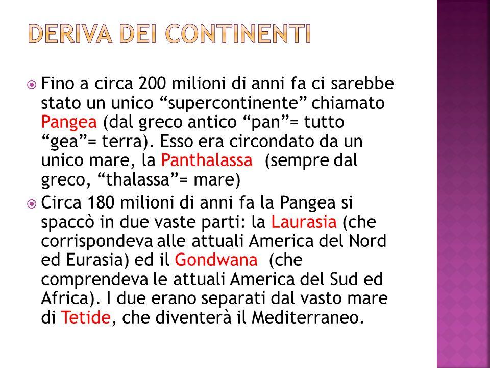 Fino a circa 200 milioni di anni fa ci sarebbe stato un unico supercontinente chiamato Pangea (dal greco antico pan= tutto gea= terra). Esso era circo