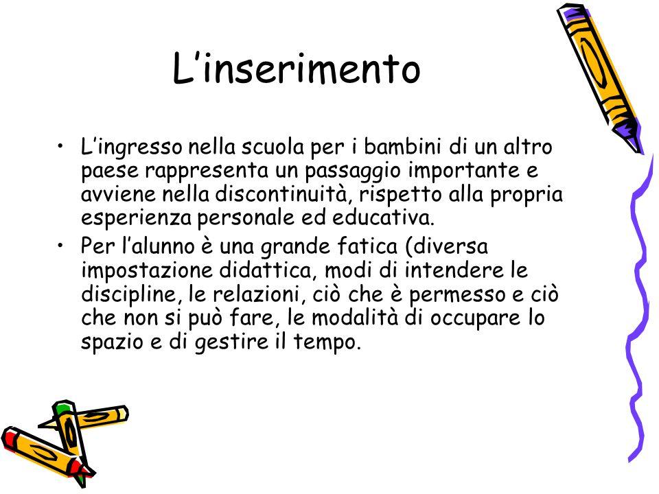 Linserimento Lingresso nella scuola per i bambini di un altro paese rappresenta un passaggio importante e avviene nella discontinuità, rispetto alla propria esperienza personale ed educativa.