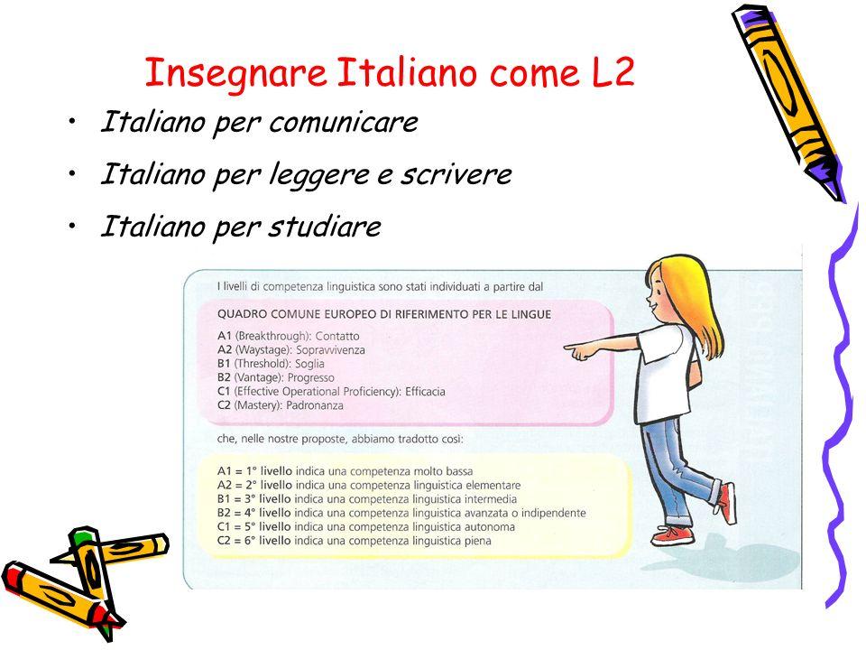 Insegnare Italiano come L2 Italiano per comunicare Italiano per leggere e scrivere Italiano per studiare
