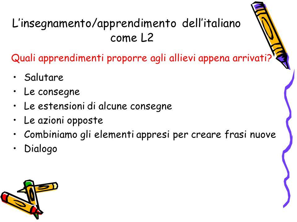 Linsegnamento/apprendimento dellitaliano come L2 Quali apprendimenti proporre agli allievi appena arrivati.