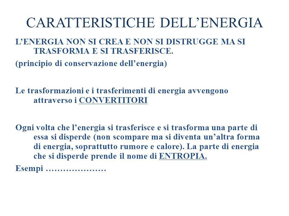 CARATTERISTICHE DELLENERGIA LENERGIA NON SI CREA E NON SI DISTRUGGE MA SI TRASFORMA E SI TRASFERISCE. (principio di conservazione dellenergia) Le tras