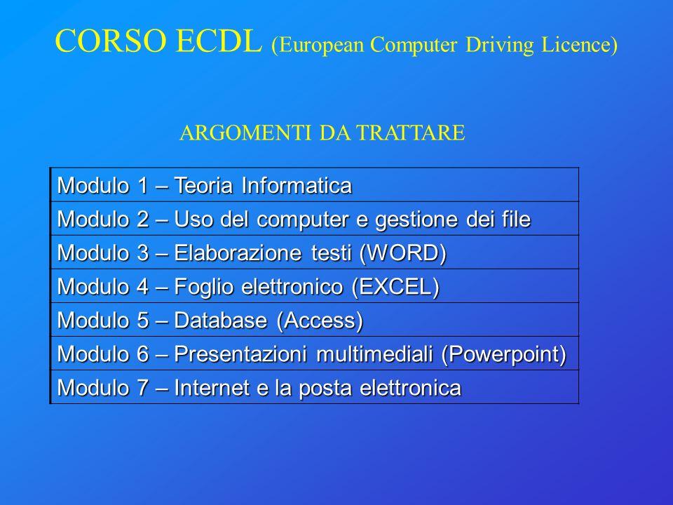 CORSO ECDL (European Computer Driving Licence) Modulo 1 – Teoria Informatica Modulo 2 – Uso del computer e gestione dei file Modulo 3 – Elaborazione t