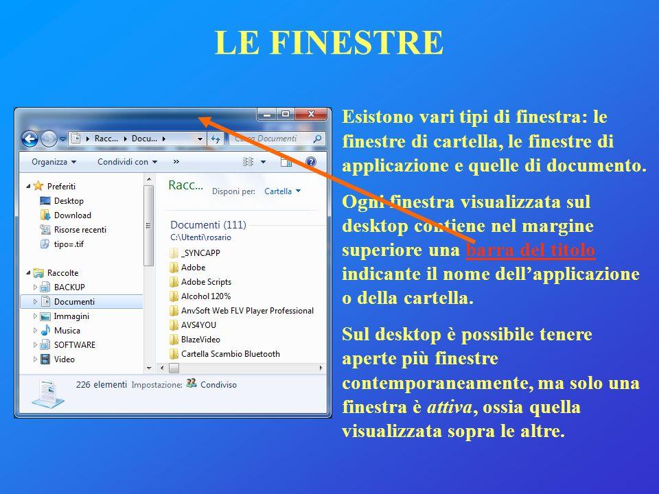 Esistono vari tipi di finestra: le finestre di cartella, le finestre di applicazione e quelle di documento. Ogni finestra visualizzata sul desktop con