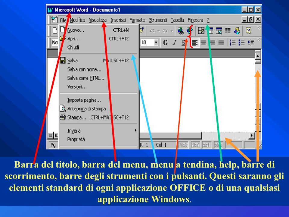 Barra del titolo, barra del menu, menu a tendina, help, barre di scorrimento, barre degli strumenti con i pulsanti. Questi saranno gli elementi standa