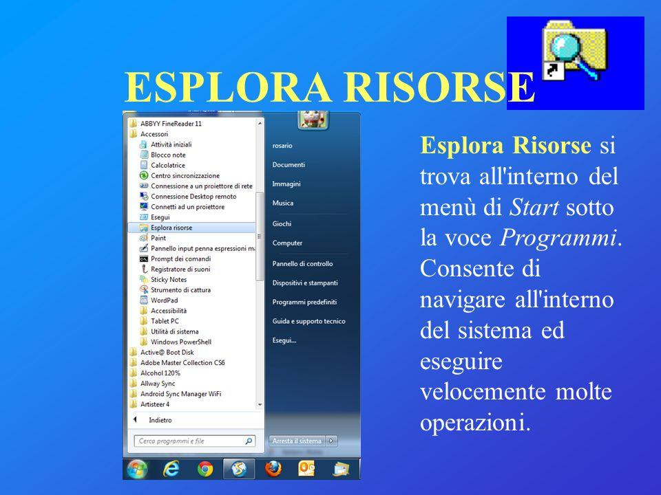 Esplora Risorse si trova all'interno del menù di Start sotto la voce Programmi. Consente di navigare all'interno del sistema ed eseguire velocemente m