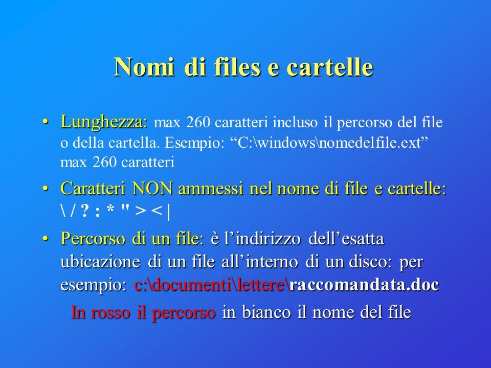 Nomi di files e cartelle Lunghezza:Lunghezza: max 260 caratteri incluso il percorso del file o della cartella. Esempio: C:\windows\nomedelfile.ext max