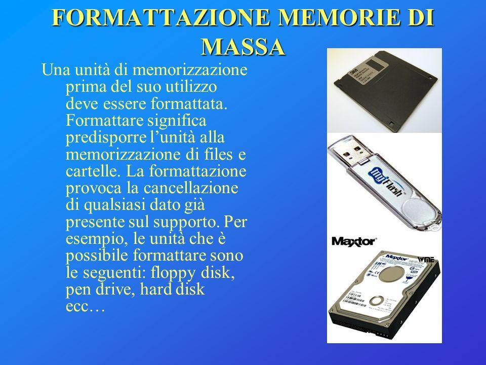 FORMATTAZIONE MEMORIE DI MASSA Una unità di memorizzazione prima del suo utilizzo deve essere formattata. Formattare significa predisporre lunità alla