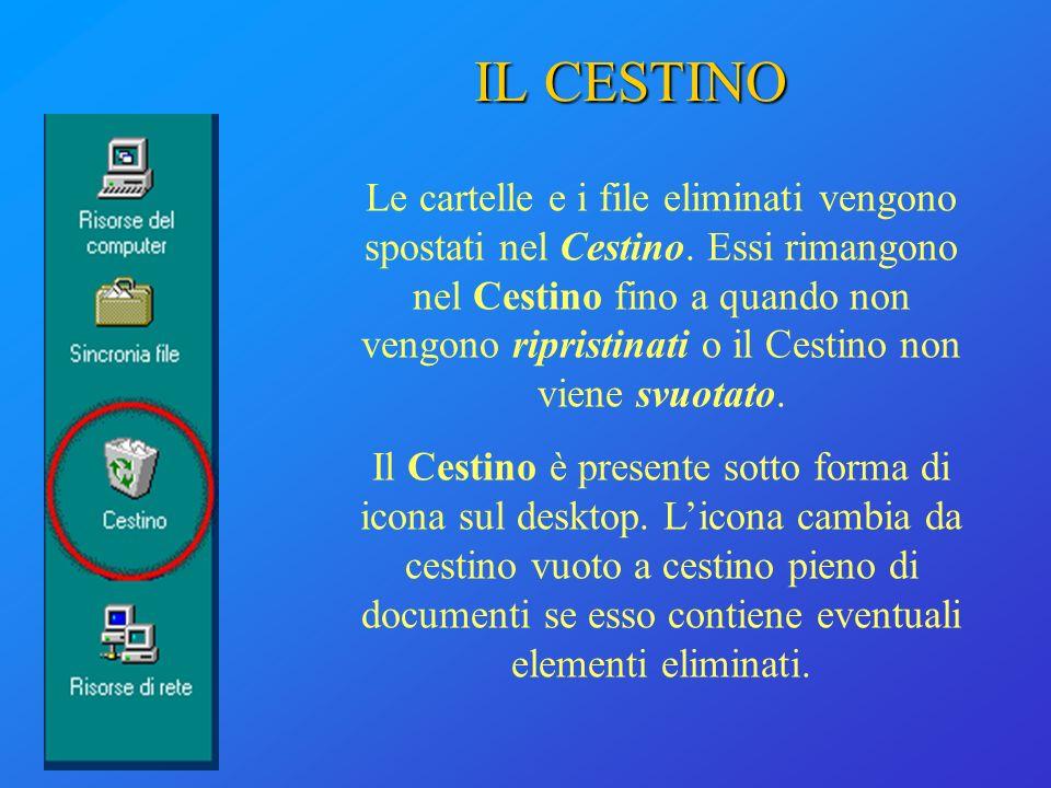 IL CESTINO Le cartelle e i file eliminati vengono spostati nel Cestino. Essi rimangono nel Cestino fino a quando non vengono ripristinati o il Cestino