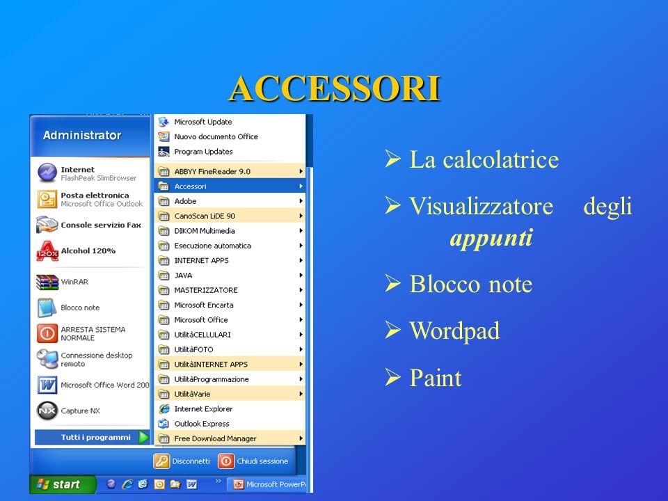 ACCESSORI La calcolatrice Visualizzatore degli appunti Blocco note Wordpad Paint