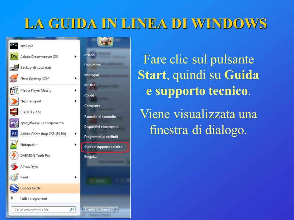 LA GUIDA IN LINEA DI WINDOWS Fare clic sul pulsante Start, quindi su Guida e supporto tecnico. Viene visualizzata una finestra di dialogo.