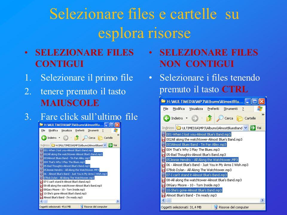 Selezionare files e cartelle su esplora risorse SELEZIONARE FILES NON CONTIGUI Selezionare i files tenendo premuto il tasto CTRL SELEZIONARE FILES CON