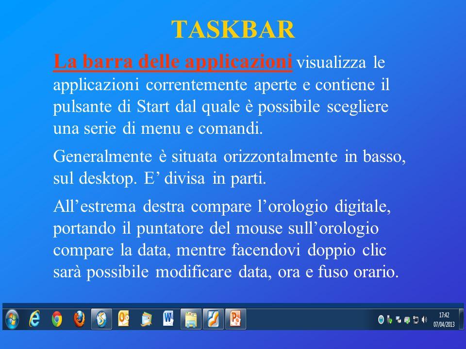 La barra delle applicazioni visualizza le applicazioni correntemente aperte e contiene il pulsante di Start dal quale è possibile scegliere una serie