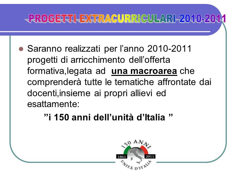Saranno realizzati per lanno 2010-2011 progetti di arricchimento dellofferta formativa,legata ad una macroarea che comprenderà tutte le tematiche affr