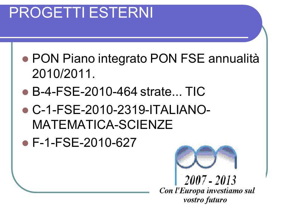 PROGETTI ESTERNI PON Piano integrato PON FSE annualità 2010/2011. B-4-FSE-2010-464 strate... TIC C-1-FSE-2010-2319-ITALIANO- MATEMATICA-SCIENZE F-1-FS